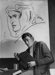 Actor Peter O'Toole studying for his part in the film Lawrence of Arabia