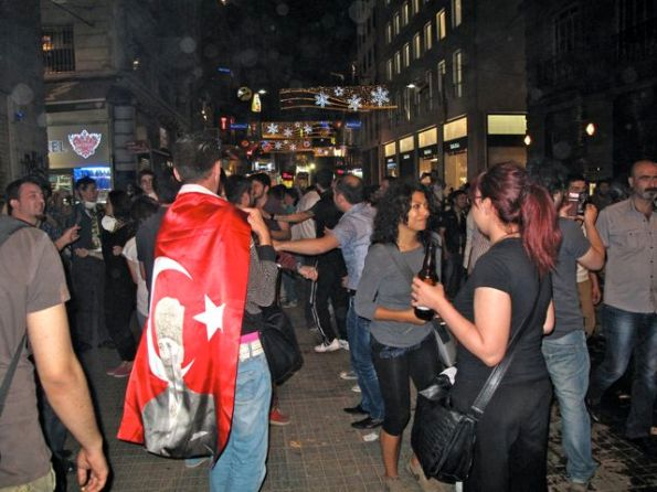 Party time on Istiklal St - many people carried Turkish flags