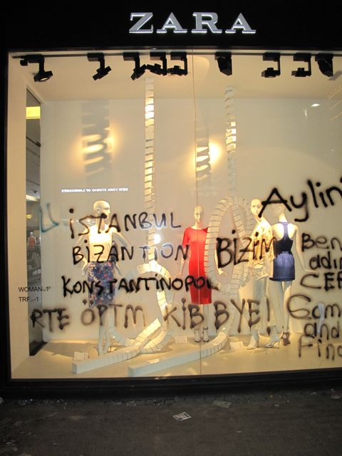 "Zara hosts graffiti of a slogan with ""Istanbul, Byzantium, Constantinople: Istanbul is Ours!"""