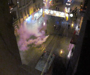 Police clear street with gas on Istiklal St. near Tunel, c. midnight 31 May, 2013