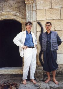Hugh Pope and Sagvan Murad in front of Yezidi shrine Sheikh Adi. Lalish, 2003.