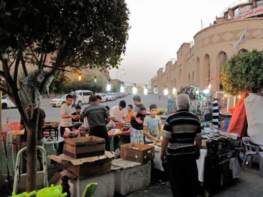 Breaking the Ramadan fast at a falafel seller in a renovated part of Erbil's city center. (Photo: Hugh Pope)