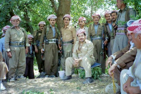 Iraqi Kurdish leader Masoud Barzani takes a break in his hometown of Barzan, 1992