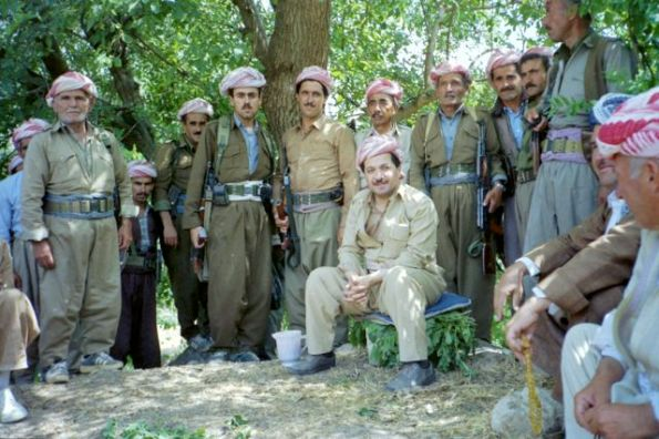 Iraqi Kurdish leader Masoud Barzani takes a break in his hometown of Barzan, 1992