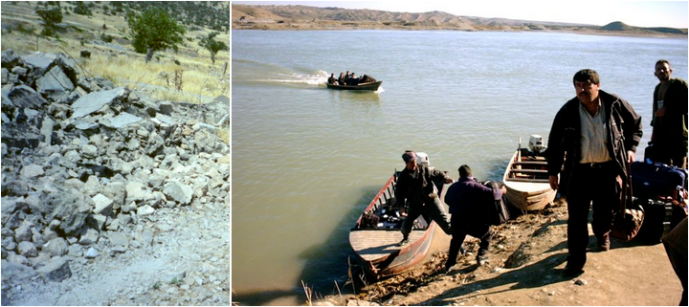 Village house flattened by Saddam Hussein, 1992 (left) Kurds crossing the Tigris from Syria to Iraq in 2002 (right).