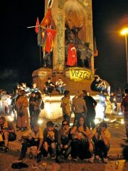 Protesters celebrate at statue of Ataturk, Taksim Sq, 1 June