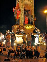 Protesters celebrate at statue of Ataturk, Taksim Sq, 1 June